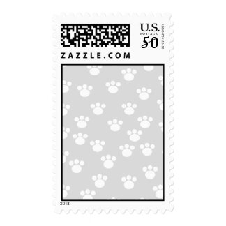 White and Light Gray Paw Print Pattern. Postage