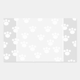 White and Light Gray Paw Print Pattern. Rectangular Sticker