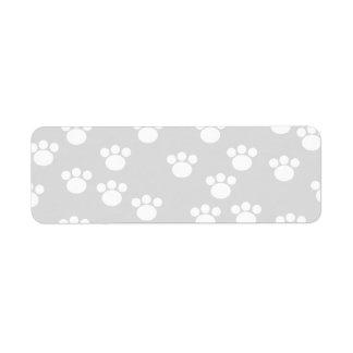 White and Light Gray Paw Print Pattern. Return Address Label