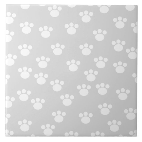 White and Light Gray Paw Print Pattern. Tile