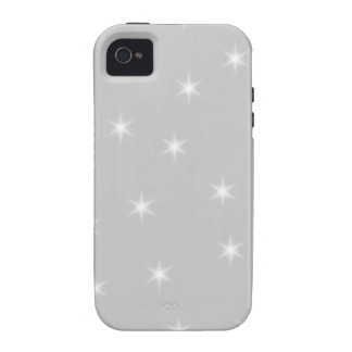 White and Light Gray Star Pattern iPhone 4 Cases