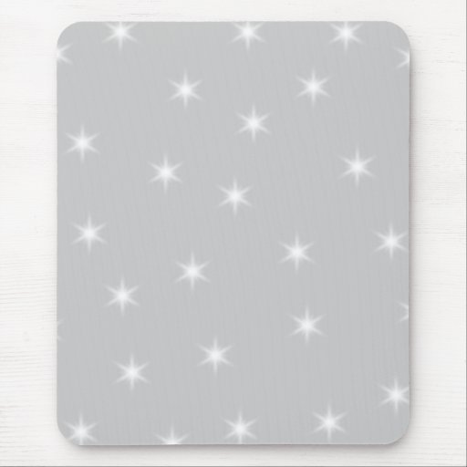 White and Light Gray Star Pattern. Mousepads