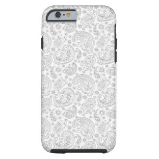 White And Light Gray Vintage Paisley Pattern iPhone 6 Case