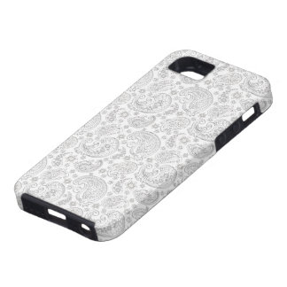 White And Light Gray Vintage Paisley Pattern iPhone 5 Cases