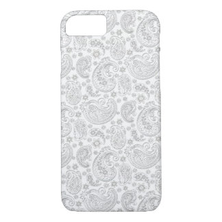 White And Light Gray Vintage Paisley Pattern iPhone 8/7 Case