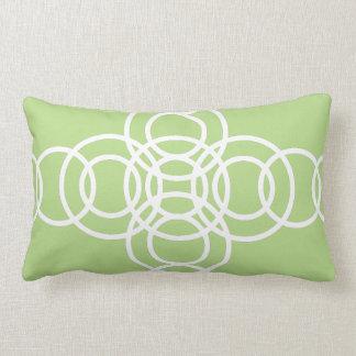 White and Light Green Trellis Stripe Lumbar Pillow