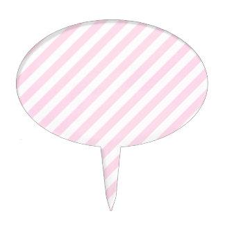 White and Light Pink Stripes. Cake Pick