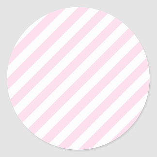 White and Light Pink Stripes. Classic Round Sticker