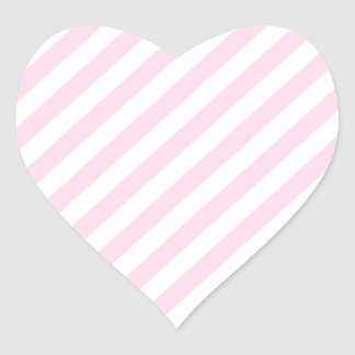 White and Light Pink Stripes. Heart Sticker