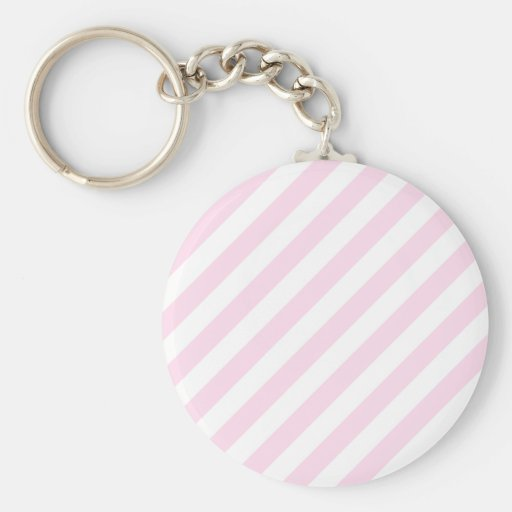 White and Light Pink Stripes. Key Chain