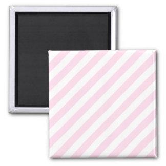 White and Light Pink Stripes. Fridge Magnets