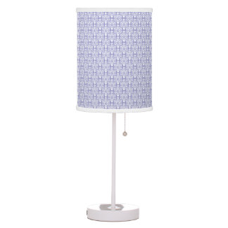 White and Light Purple Cat Face Damask Lamp