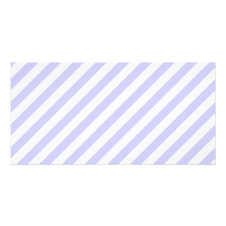 White and Light Purple Stripes Personalized Photo Card
