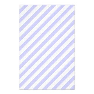 White and Light Purple Stripes Custom Stationery