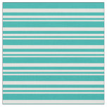 [ Thumbnail: White and Light Sea Green Stripes Fabric ]