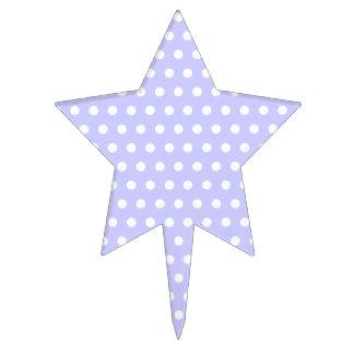White and Lilac Purple Polka Dot Pattern. Spotty. Cake Topper