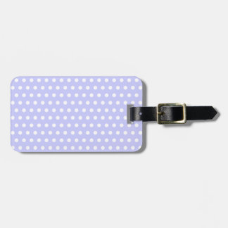 White and Lilac Purple Polka Dot Pattern. Spotty. Tag For Bags