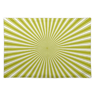 White and Lime Funky Striped Abstract Art Cloth Placemat