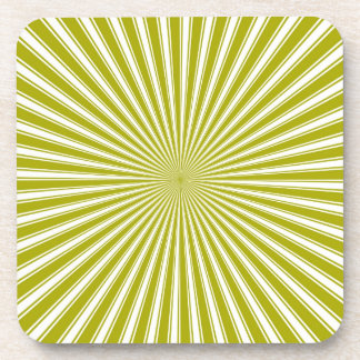 White and Lime Funky Striped Abstract Art Coaster