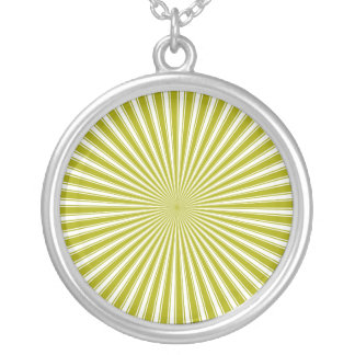 White and Lime Funky Striped Abstract Art Round Pendant Necklace