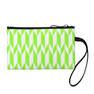 White and Lime Green Abstract Graphic Pattern. Coin Wallet