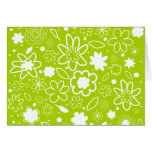 White and Lime Green Floral Pattern Cards
