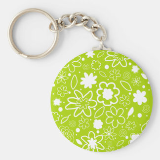 White and Lime Green Floral Pattern Basic Round Button Keychain