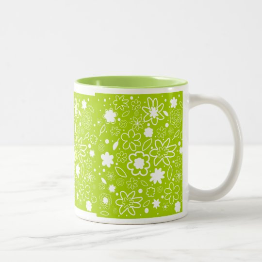 White and Lime Green Floral Pattern Two-Tone Coffee Mug