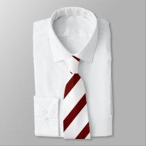 White and Maroon Diagonally-Striped Tie