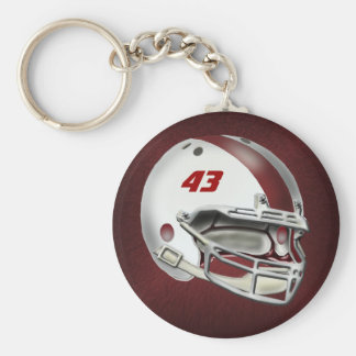 White and Maroon Football Helmet Basic Round Button Keychain