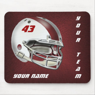 White and Maroon Football Helmet Mouse Pad