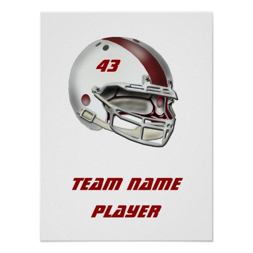 White and Maroon Football Helmet Posters