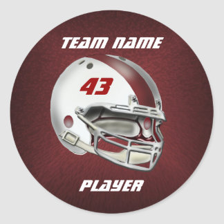 White and Maroon Football Helmet Classic Round Sticker
