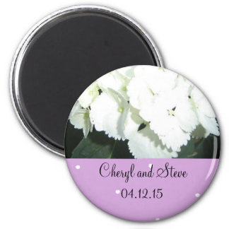 White and Mauve Save the Date Magnet