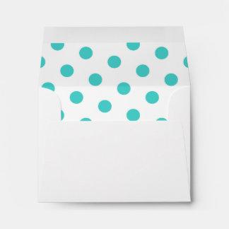 White and Medium Turquoise Polka Dots Envelope