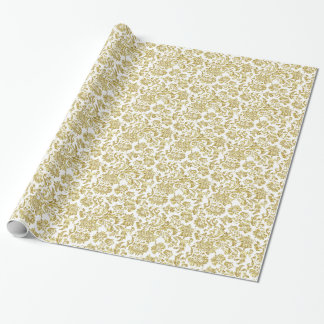 White And Metallic Gold Floral Damasks 4 Pattern Gift Wrapping Paper