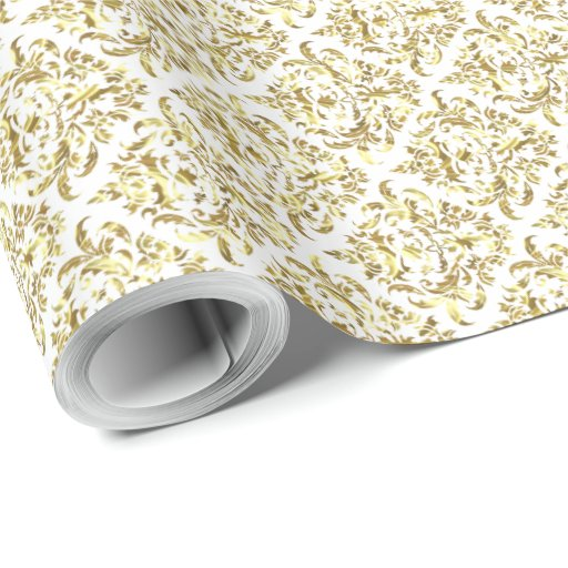 White And Metallic Shiny Gold Floral Damasks Wrapping