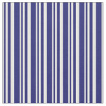 [ Thumbnail: White and Midnight Blue Colored Lined Pattern Fabric ]