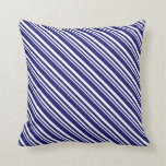 [ Thumbnail: White and Midnight Blue Colored Lined Pattern Throw Pillow ]