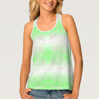 White And Mint Bleached Ombre Stripe Crinkle Dyed Tank Top