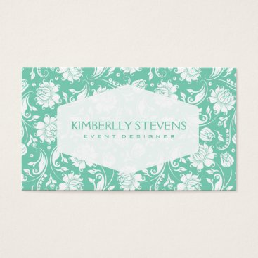 Professional Business White And Mint-Green Floral Ornate Damasks Business Card