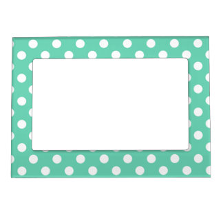 White and Mint Green Polka Dots Picture Frame Magnet