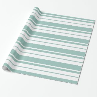 White And Mint-Green Stripes Pattern Wrapping Paper