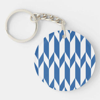 White and Navy Blue Abstract Graphic Pattern. Double-Sided Round Acrylic Keychain