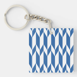 White and Navy Blue Abstract Graphic Pattern. Single-Sided Square Acrylic Keychain