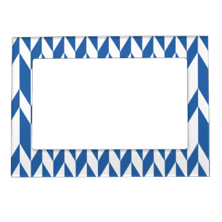 White and Navy Blue Abstract Graphic Pattern. Photo Frame Magnet