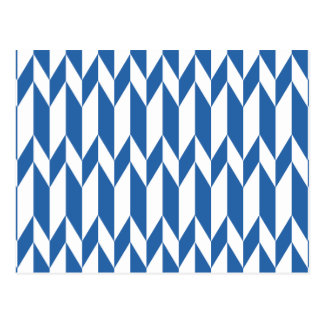 White and Navy Blue Abstract Graphic Pattern. Postcard