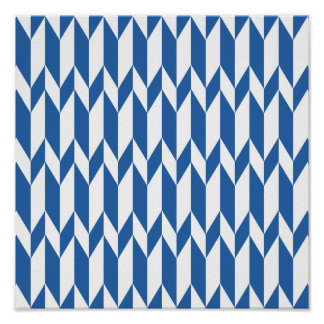 White and Navy Blue Abstract Graphic Pattern. Poster