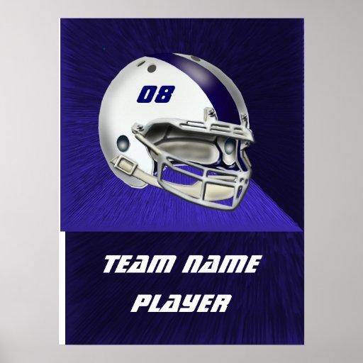 White and Navy Blue Football Helmet Poster