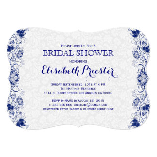 """White And Navy Blue Lace Bridal Shower Invite 2 5"""" X 7"""" Invitation Card"""